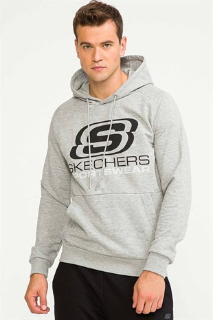 Skechers M LW Fleece Logo Sweatshirt Erkek Sweat Kapüşon S192095 035